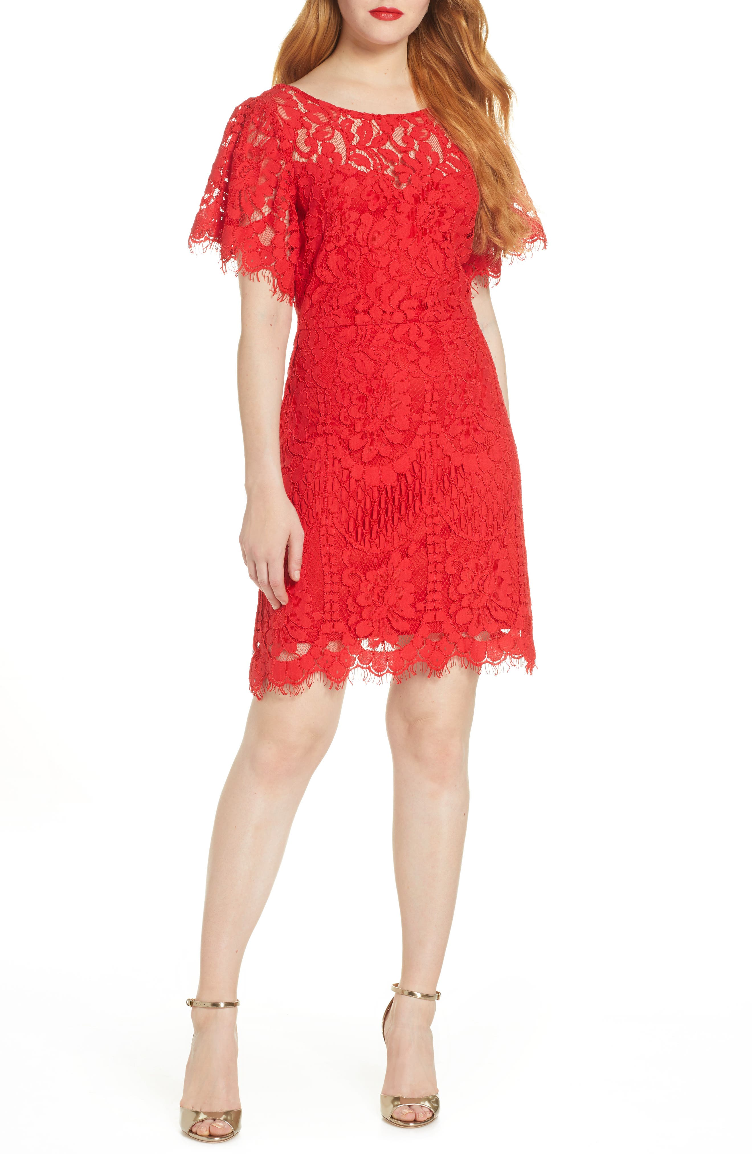 Lulus Pearson Short Sleeve Lace Cocktail Dress, Red
