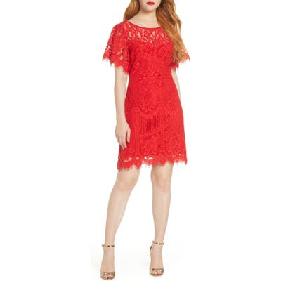 Lulus Pearson Short Sleeve Lace Cocktail Minidress, Red