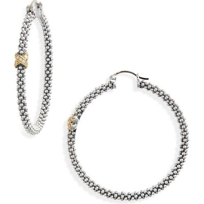 Lagos Caviar Two-Tone Slender Hoop Earrings