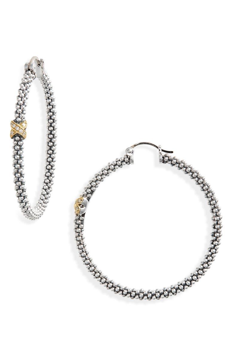 LAGOS Caviar Two-Tone Slender Hoop Earrings, Main, color, SILVER/ GOLD