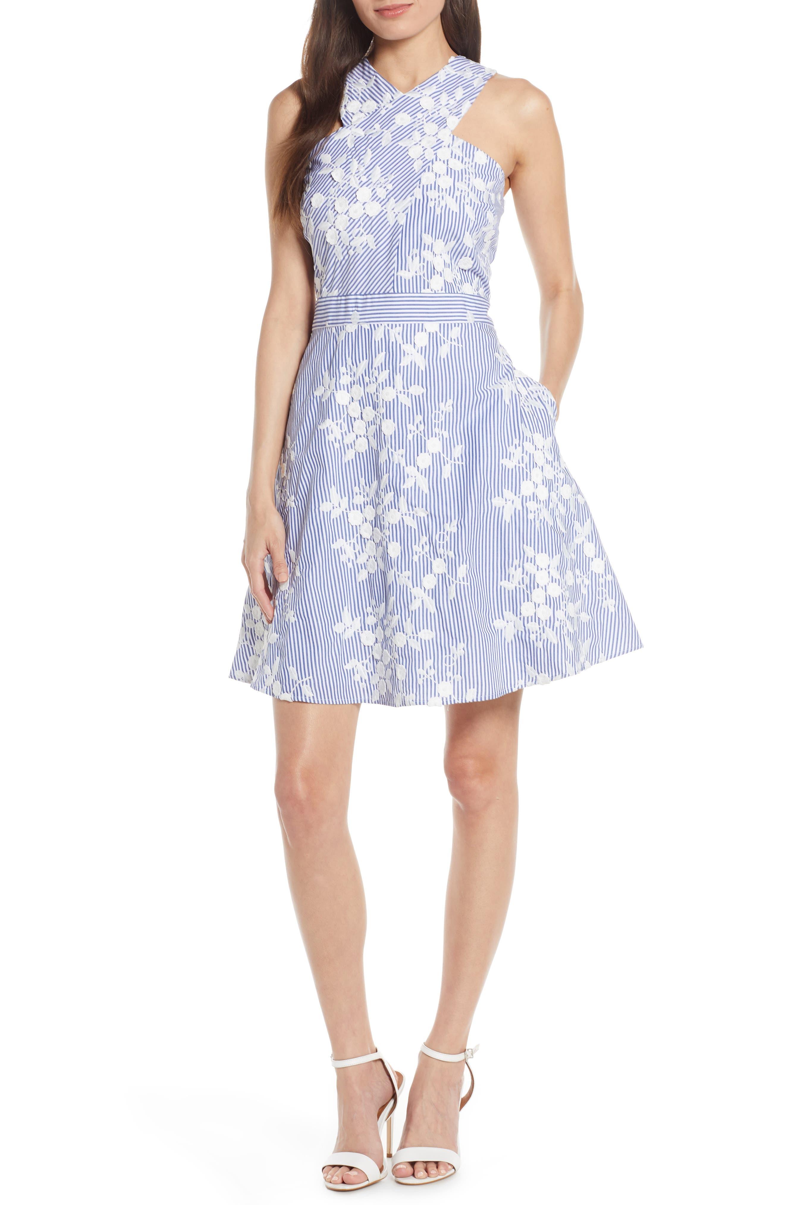 Sam Edelman Embroidered Stripe Crossover Fit & Flare Dress, Blue