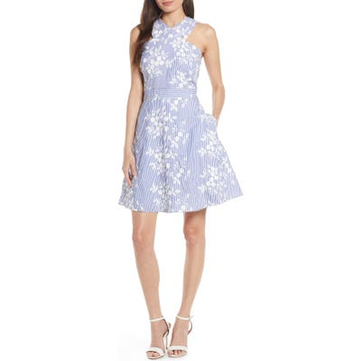 Sam Edelman Embroidered Stripe Crossover Fit & Flare Dress, Blue