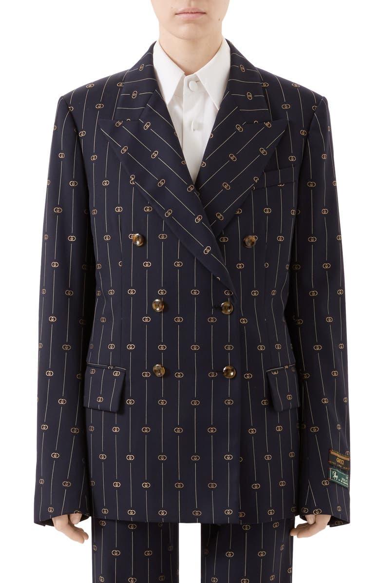 GUCCI GG Double Breasted Wool Blazer, Main, color, CIELO/ MULTICOLOR