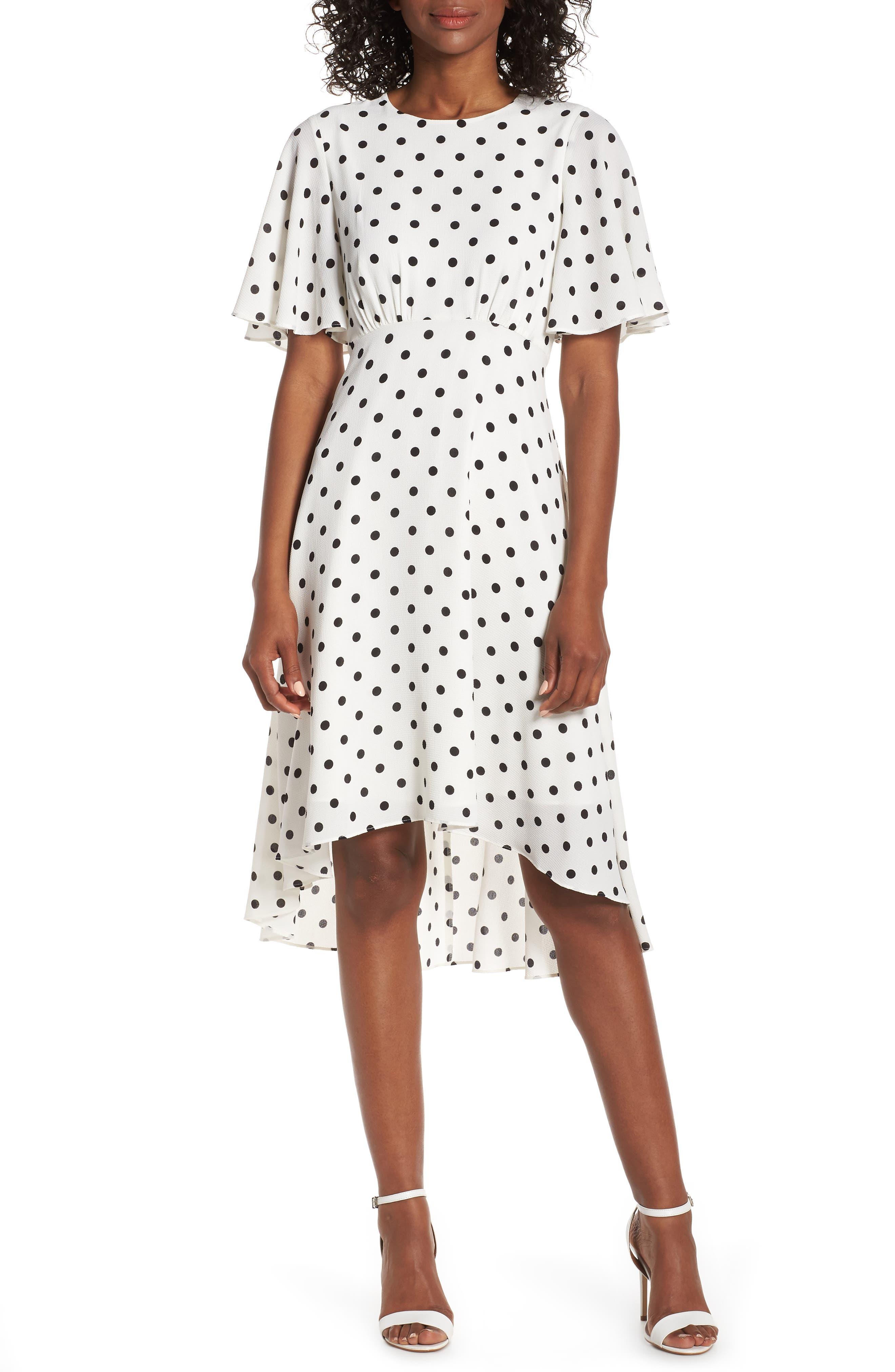 ,                             Dot High/Low Fit & Flare Dress,                             Main thumbnail 1, color,                             BLACK/ WHITE