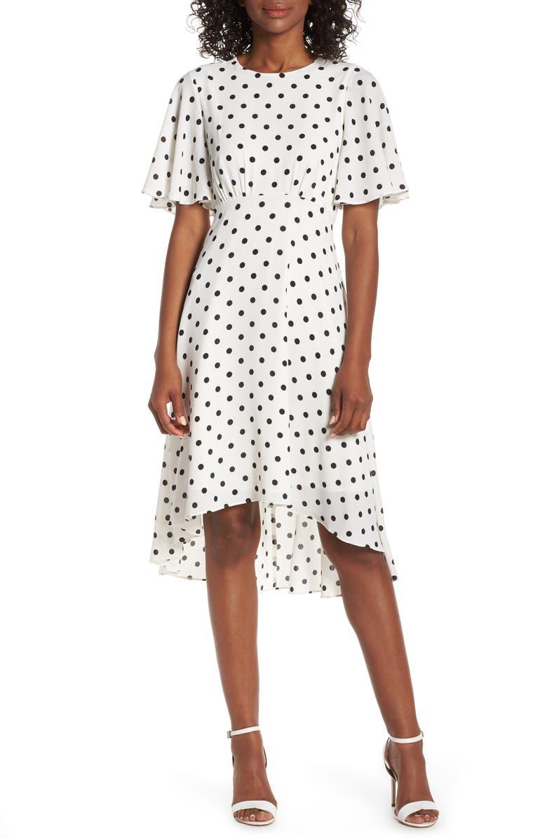 ELIZA J Dot High/Low Fit & Flare Dress, Main, color, BLACK/ WHITE