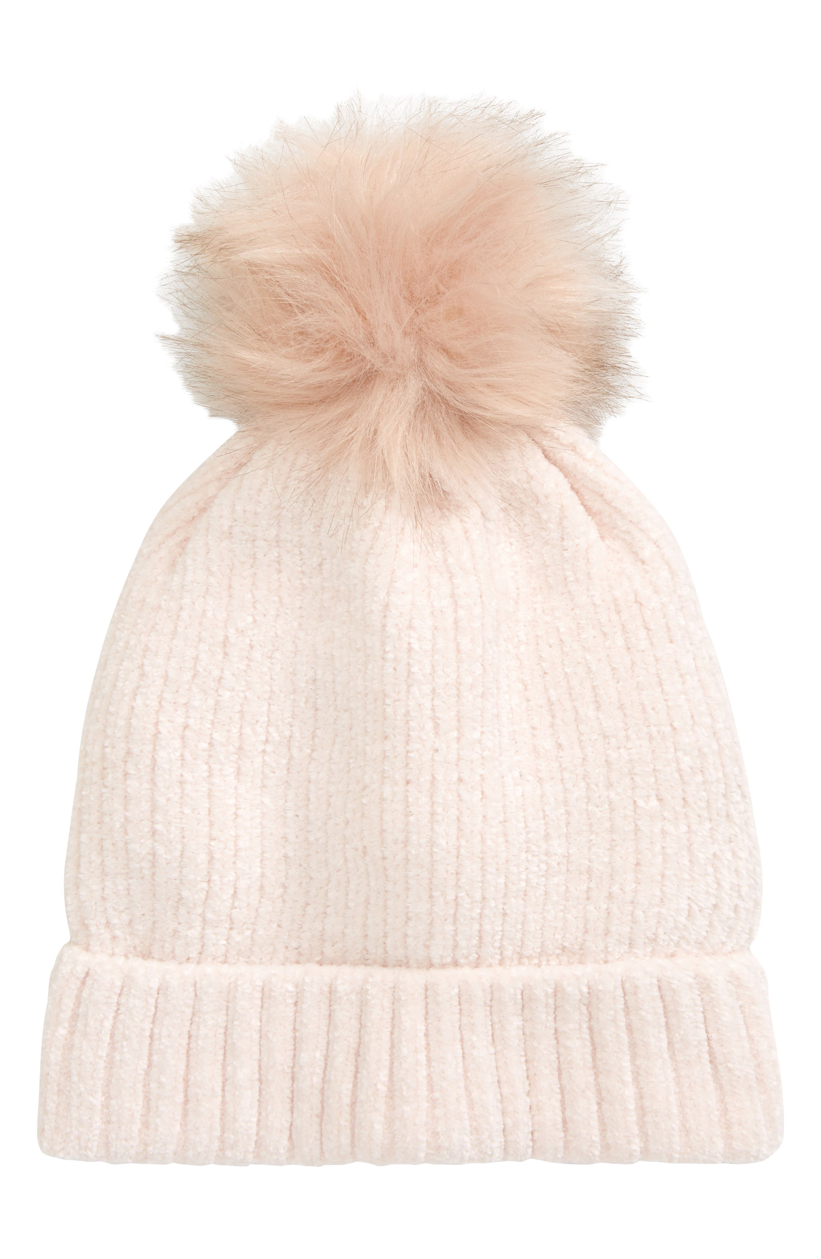 Ribbed-knit chenille adds cozy texture to a cold-weather hat topped with a fun faux-fur pompom. Style Name: Tucker + Tate Kids\\\' Chenille Faux Fur Pompom Beanie (Big Girl). Style Number: 6095715. Available in stores.