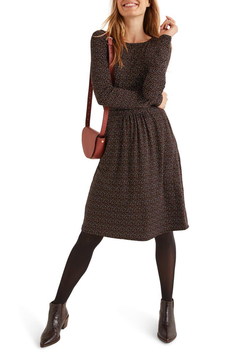 BODEN Abigail Long Sleeve Jersey Dress, Main, color, BLACK CONFETTI SPOT