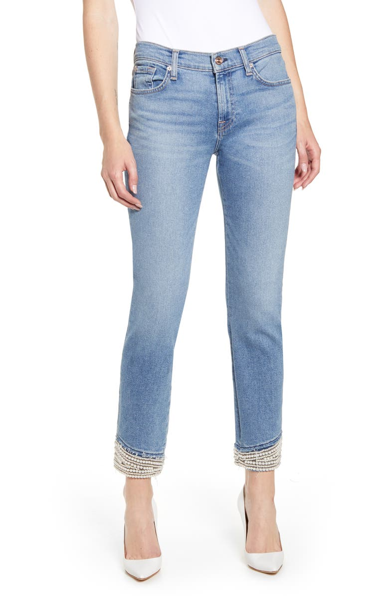 7 FOR ALL MANKIND<SUP>®</SUP> Imitation Pearl Embellished Crop Straight Leg Jeans, Main, color, 401