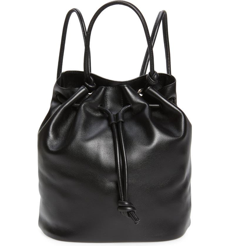 TREASURE & BOND Delaney Drawstring Leather Backpack, Main, color, BLACK