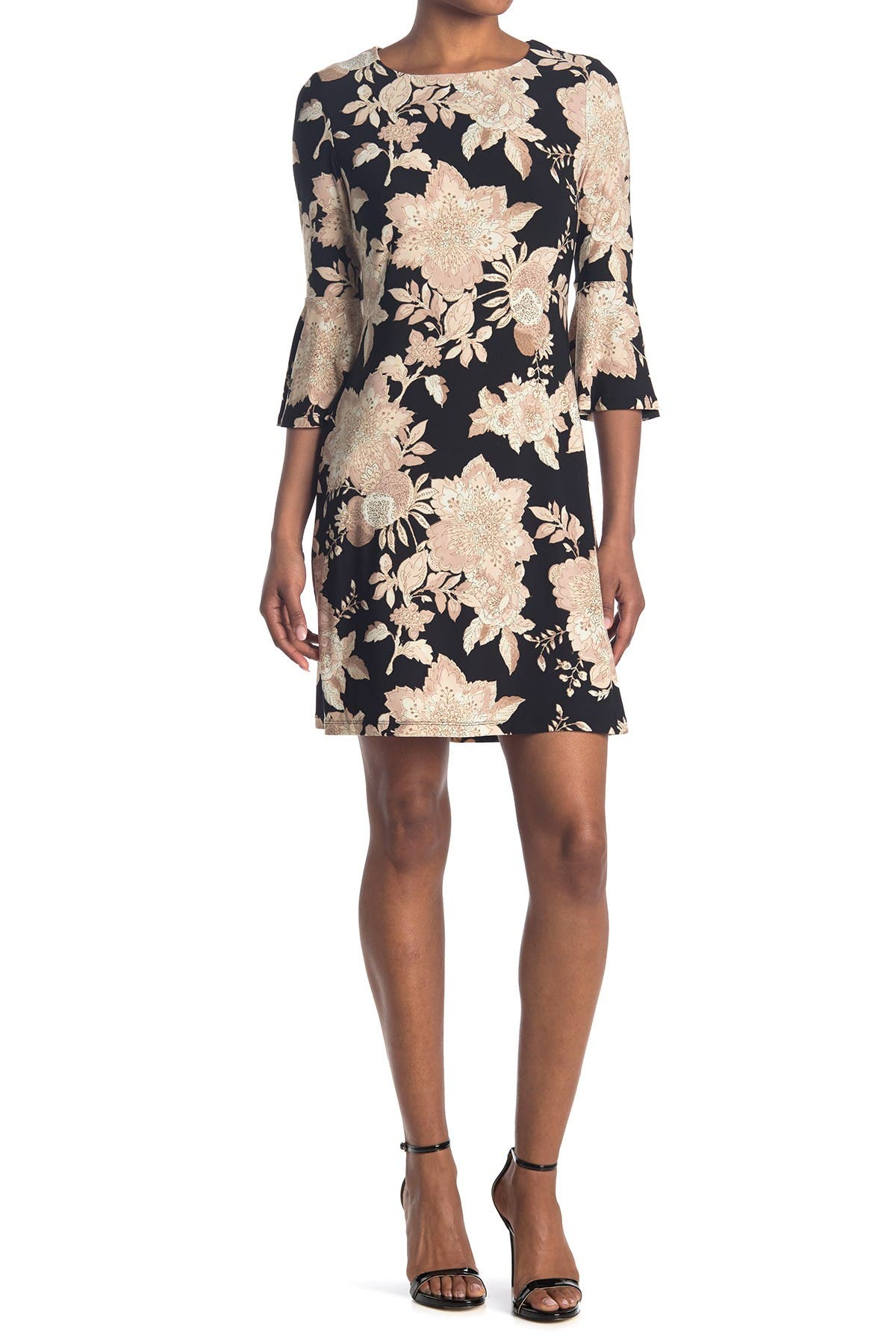 Image of Tommy Hilfiger Floral Bell Sleeve Jersey Dress