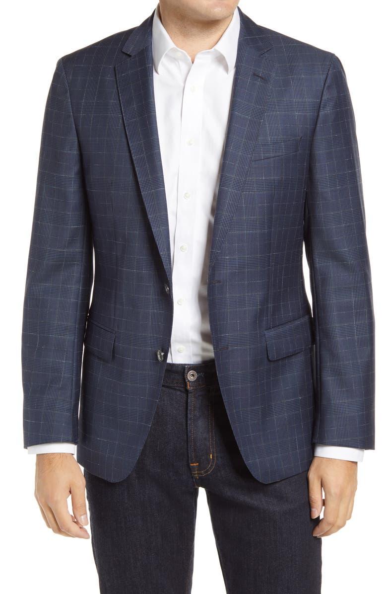 BOSS Hartlay Trim Fit Glen Plaid Wool Sport Coat, Main, color, NAVY