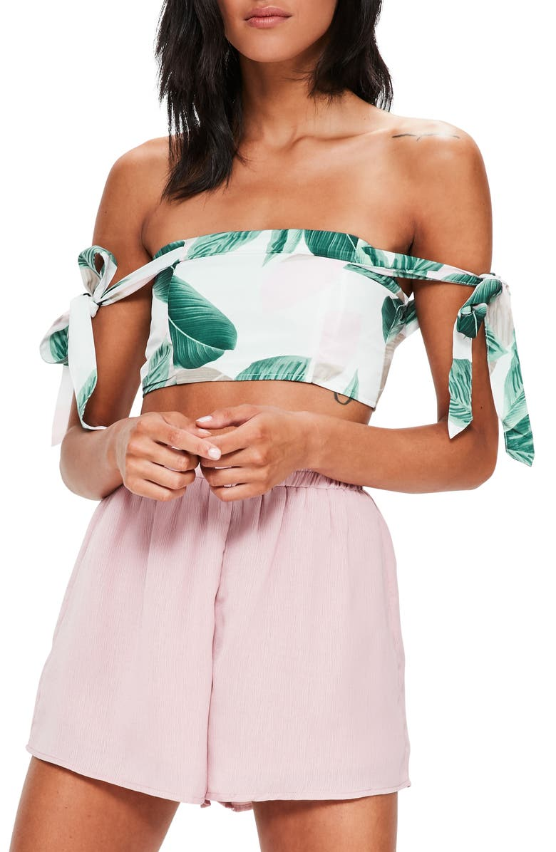 MISSGUIDED Tropical Print Off the Shoulder Top, Main, color, 901