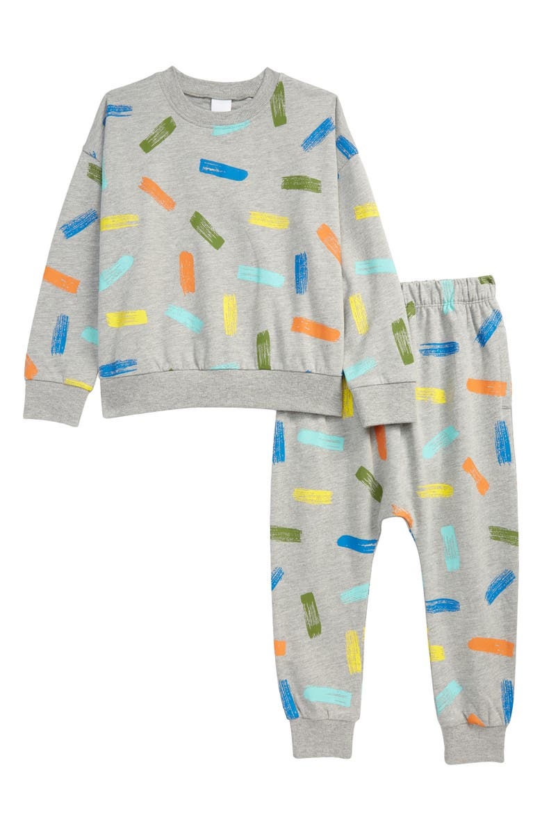 OPEN EDIT Kids' Crewneck Sweatshirt & Joggers Set, Main, color, GREY LT HEATHER MULTI STROKES