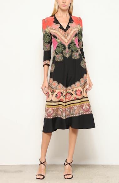 Print Silk Fit & Flare Midi Dress, video thumbnail
