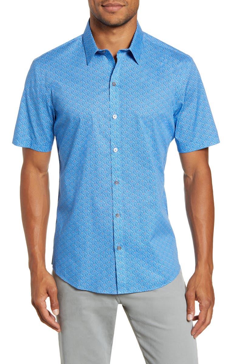 ZACHARY PRELL Eversaul Regular Fit Print Short Sleeve Button-Up Shirt, Main, color, BLUE
