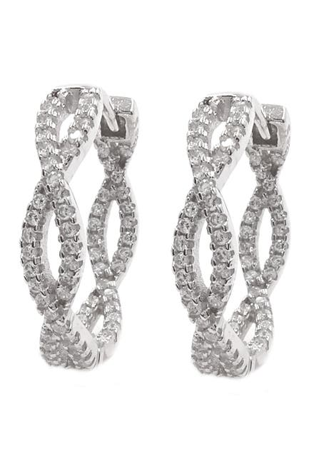 Image of Savvy Cie Rhodium Plated Sterling Silver Pave CZ 19mm Braided Hoop Earrings
