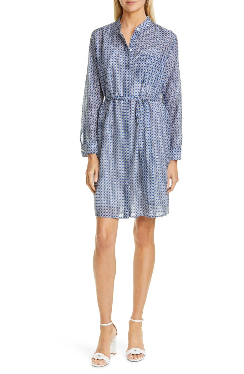 EQUIPMENT Ravena Print Long Sleeve Silk Blend Shirtdress, Main, color, TRUE BLUE MULTI
