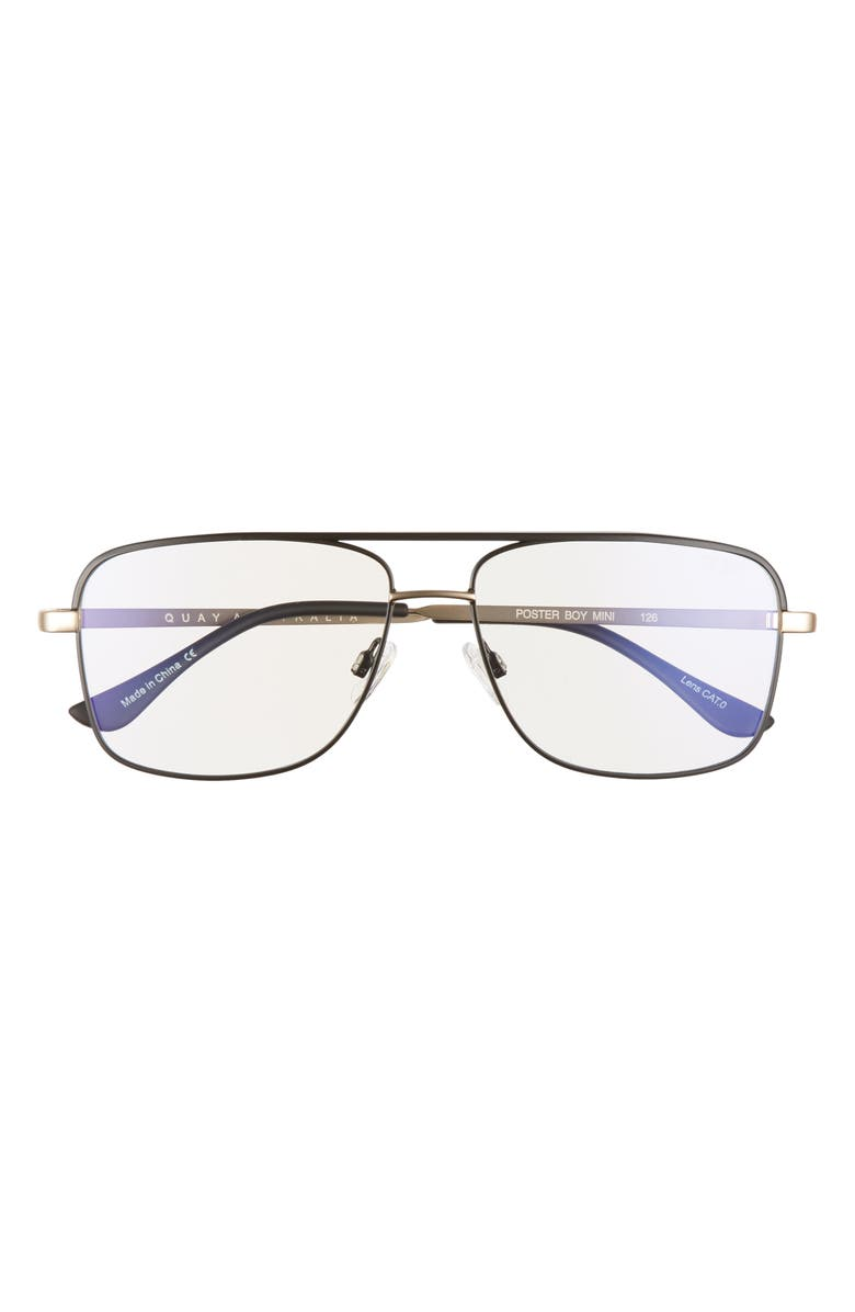 QUAY AUSTRALIA Poster Boy 43mm Blue Light Blocking Glasses, Main, color, BLACK/ GOLD/ CLEAR