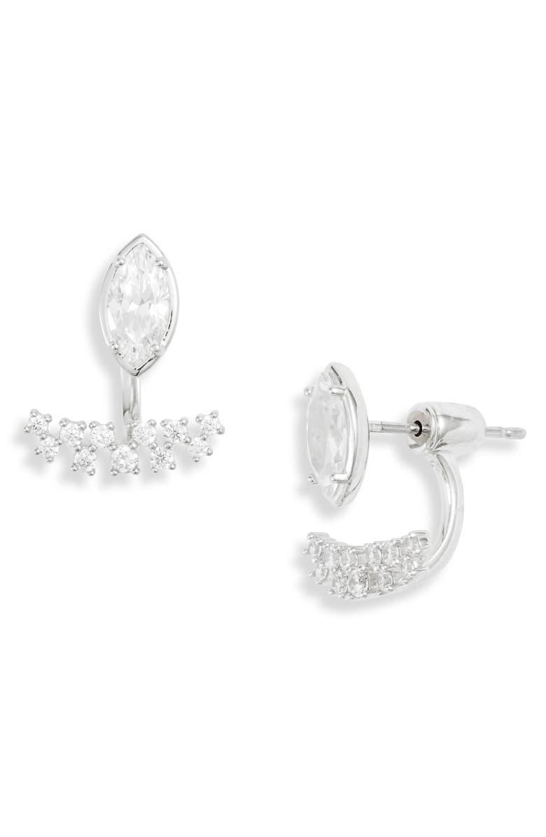 NADRI Mila Drop Back Earrings, Main, color, RHODIUM