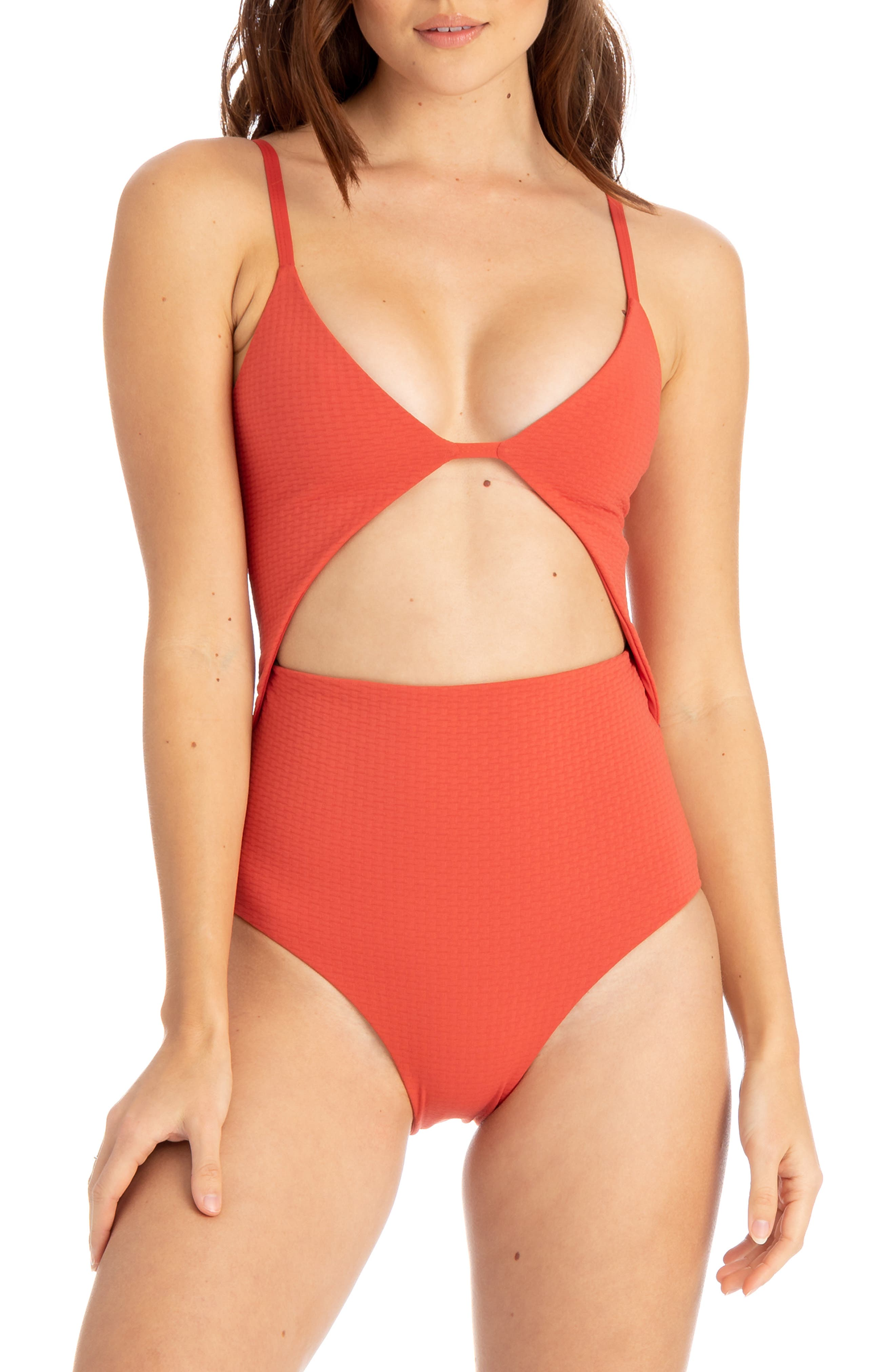 Tavik Penelope Cutout One-Piece Swimsuit, Red