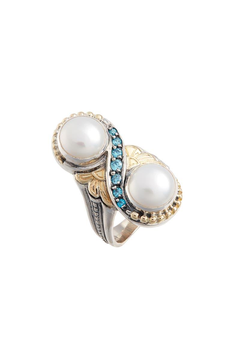 KONSTANTINO Thalia Double Pearl Ring, Main, color, SILVER/ PEARL