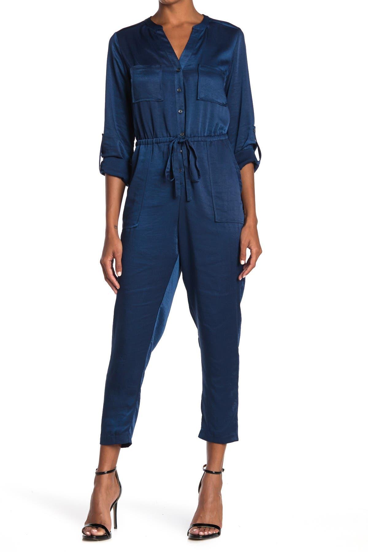 Image of Adelyn Rae Satin Utility Pocket Roll Sleeve Crop Jumpsuit