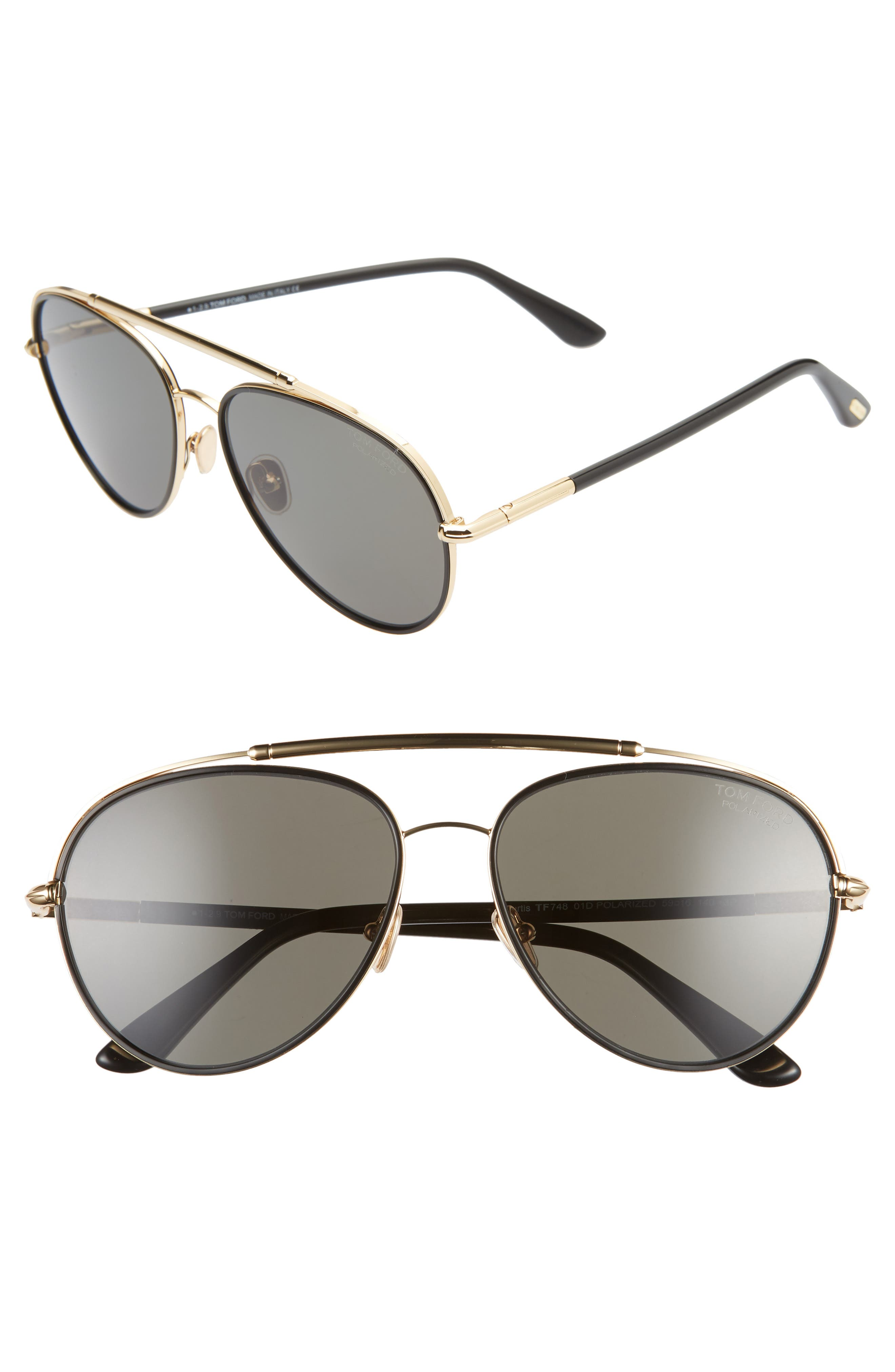 Image of Tom Ford Curtis 59mm Polarized Aviator Sunglasses