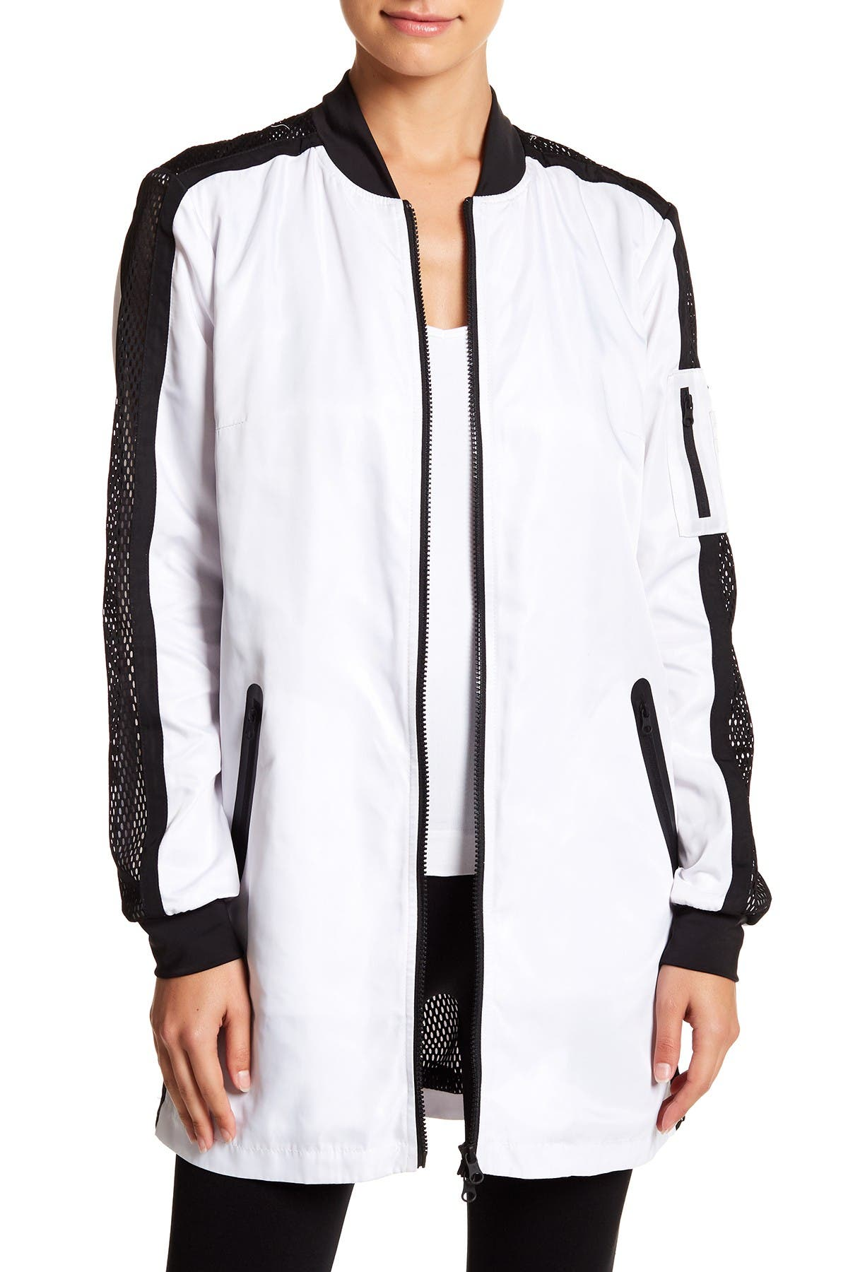 Image of Blanc Noir Boyfriend Mesh Panel Bomber Jacket