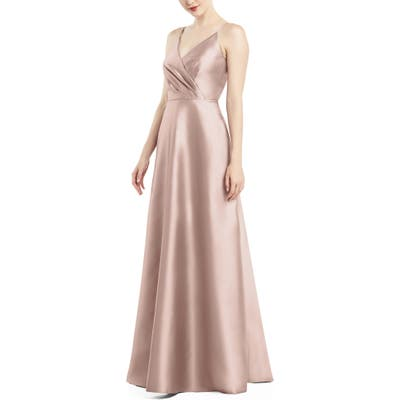 Alfred Sung Satin Twill A-Line Gown, Pink