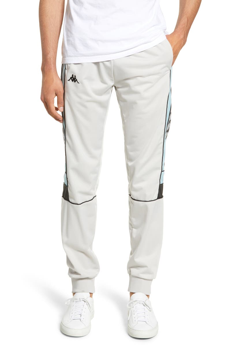 KAPPA Active 222 Banda Memzz Slim Track Pants, Main, color, GREY/ SILVER AZURE/ BLACK