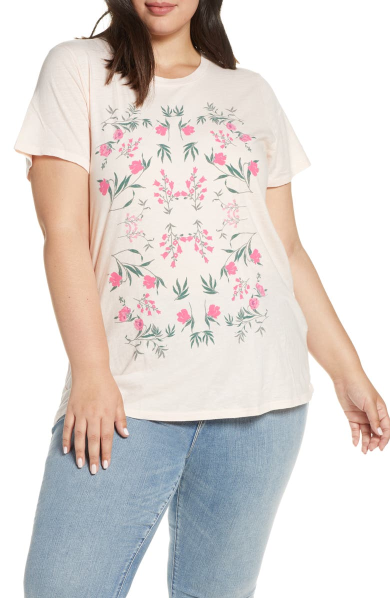LUCKY BRAND Mosaic Flower Graphic Tee, Main, color, PINK MULTI