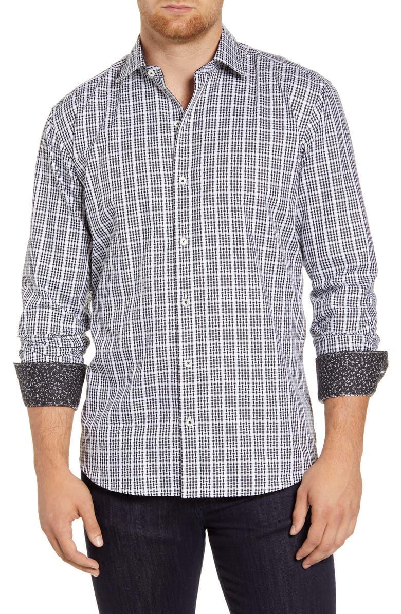 BUGATCHI Shaped Fit Print Cotton Shirt, Main, color, BLACK