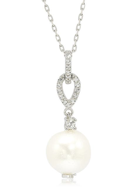 Image of Suzy Levian Sterling Silver 10mm Freshwater Pearl & Created Sapphire Pendant