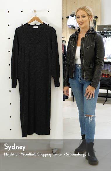Pointelle Yoke Long Sleeve Cotton Midi Sweater Dress, sales video thumbnail