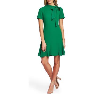 Cece Bow Neck Short Sleeve Dress, Green