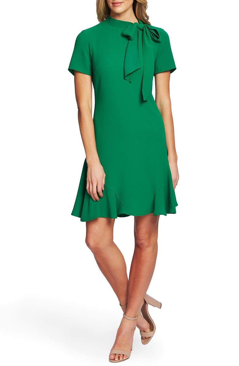 CECE Bow Neck Short Sleeve Dress, Main, color, LUSH GREEN