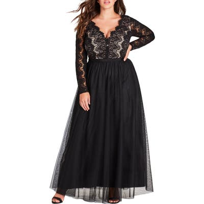 Plus Size City Chic Rare Beauty Maxi Dress, Black