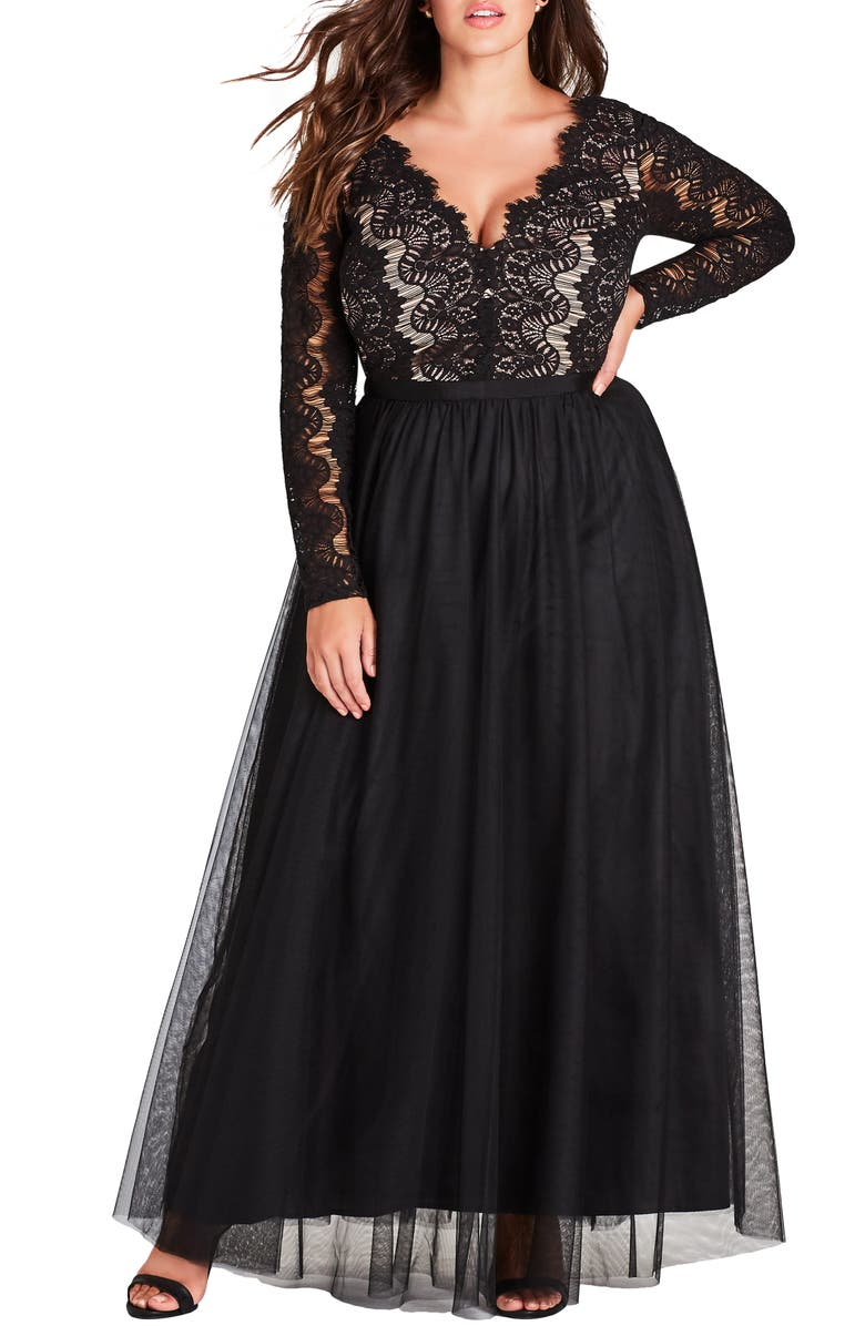 CITY CHIC Rare Beauty Maxi Dress, Main, color, BLACK