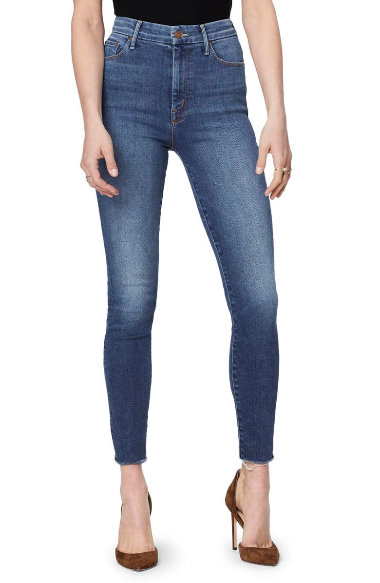 MOTHER The Looker High Waist Frayed Ankle Skinny Jeans Big Sky