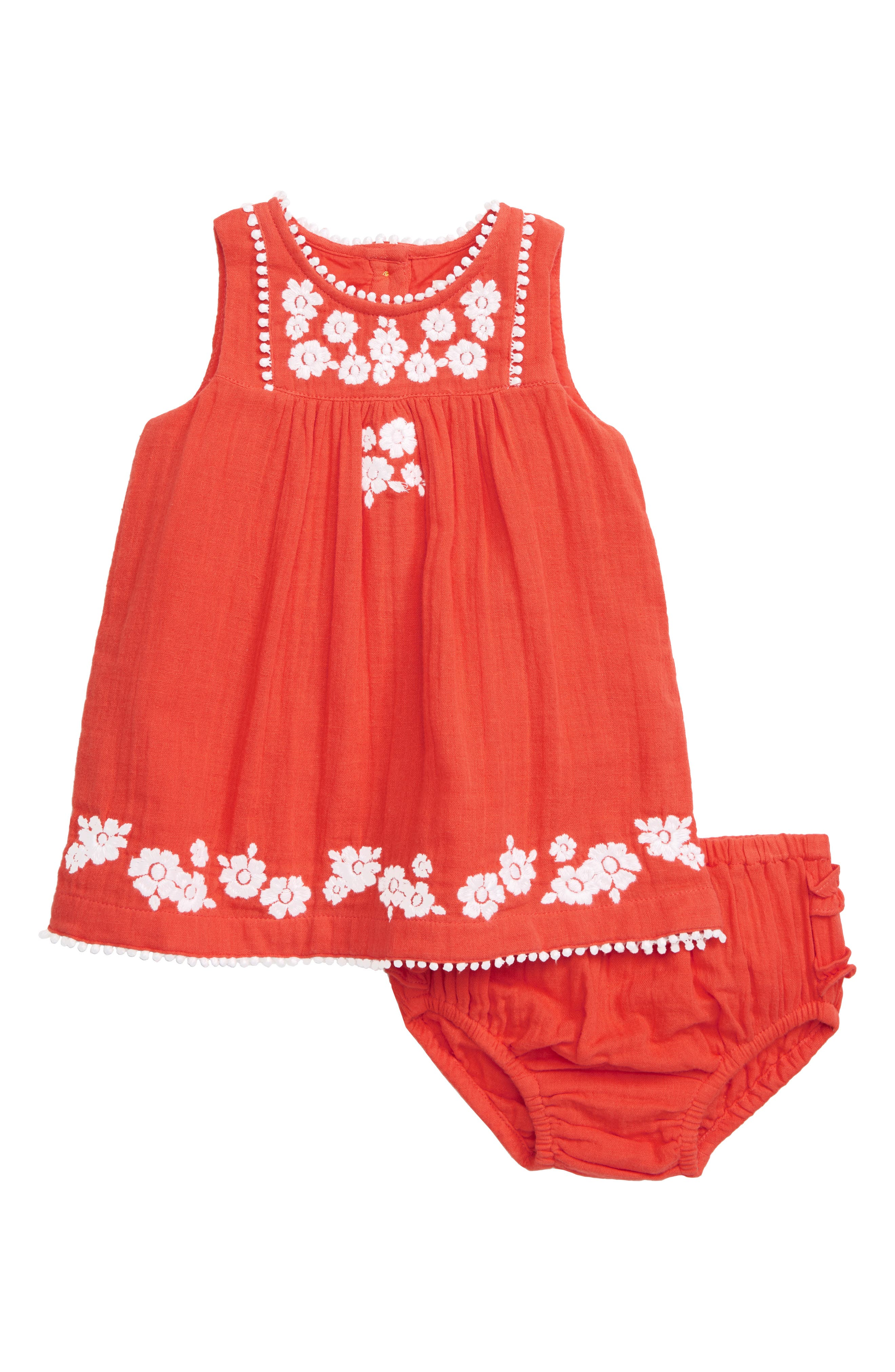 5217affac133 Infant Girl's Mini Boden Pretty Embroidered Dress, Coral