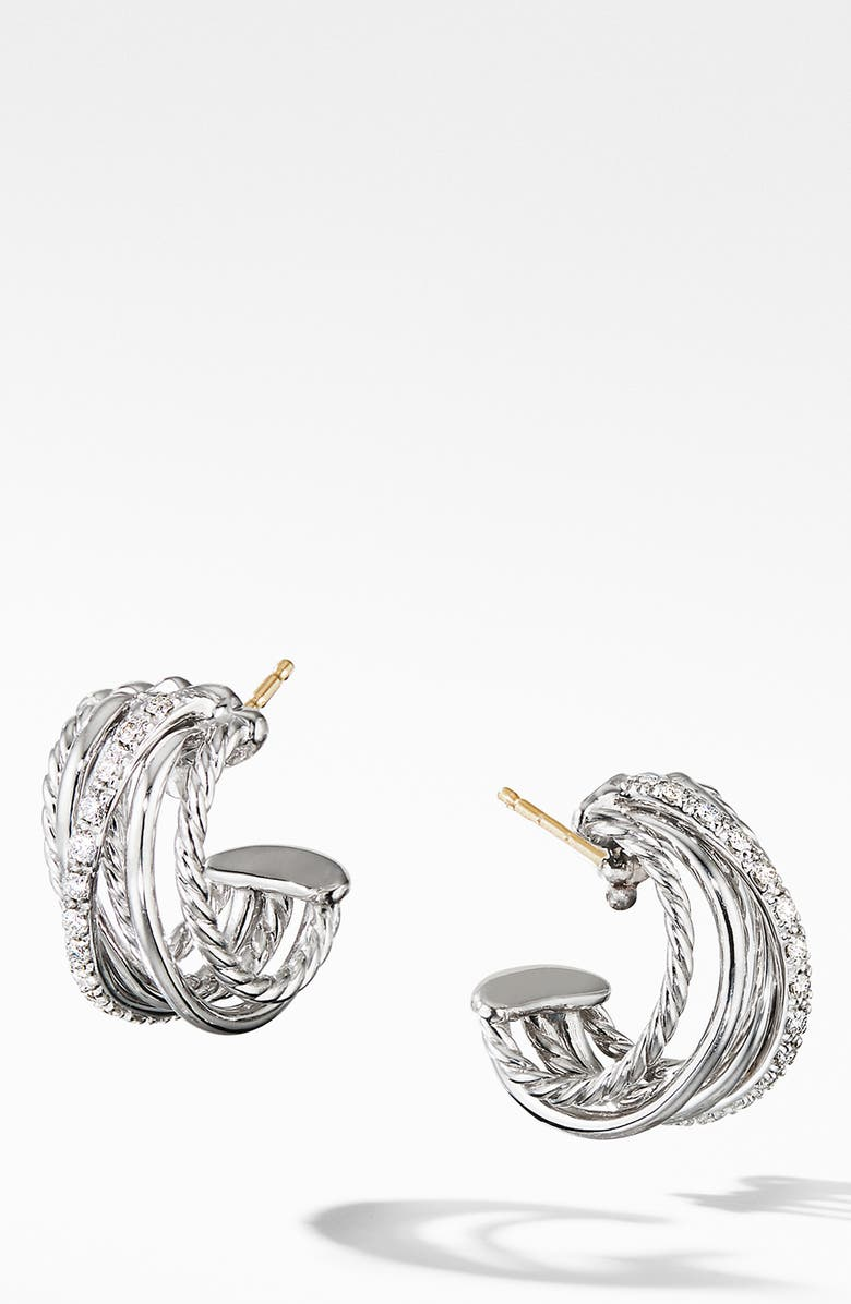 DAVID YURMAN Crossover Huggie Hoop Earrings with Diamonds, Main, color, SILVER/ DIAMOND