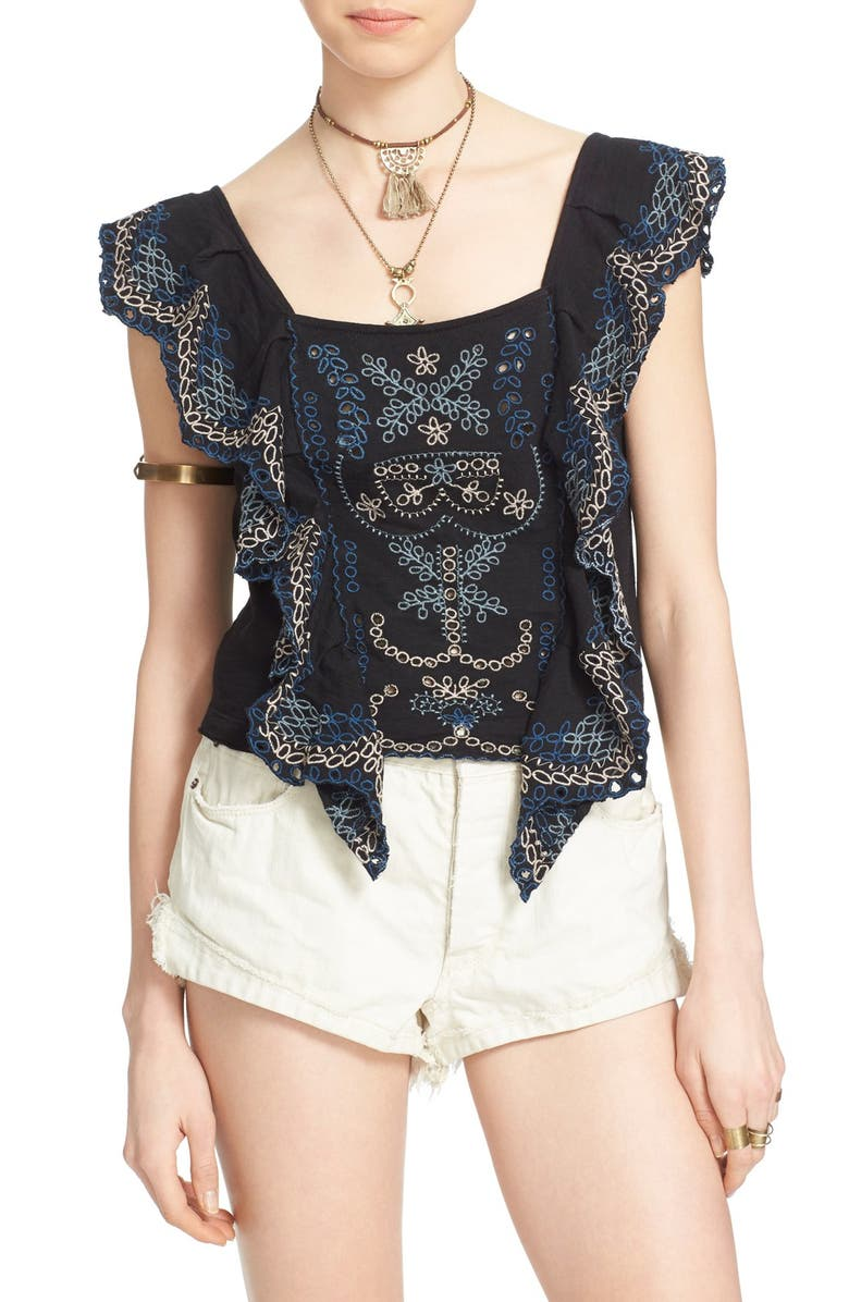 FREE PEOPLE 'Shake Baby Shake' Embroidered Ruffle Top, Main, color, 001