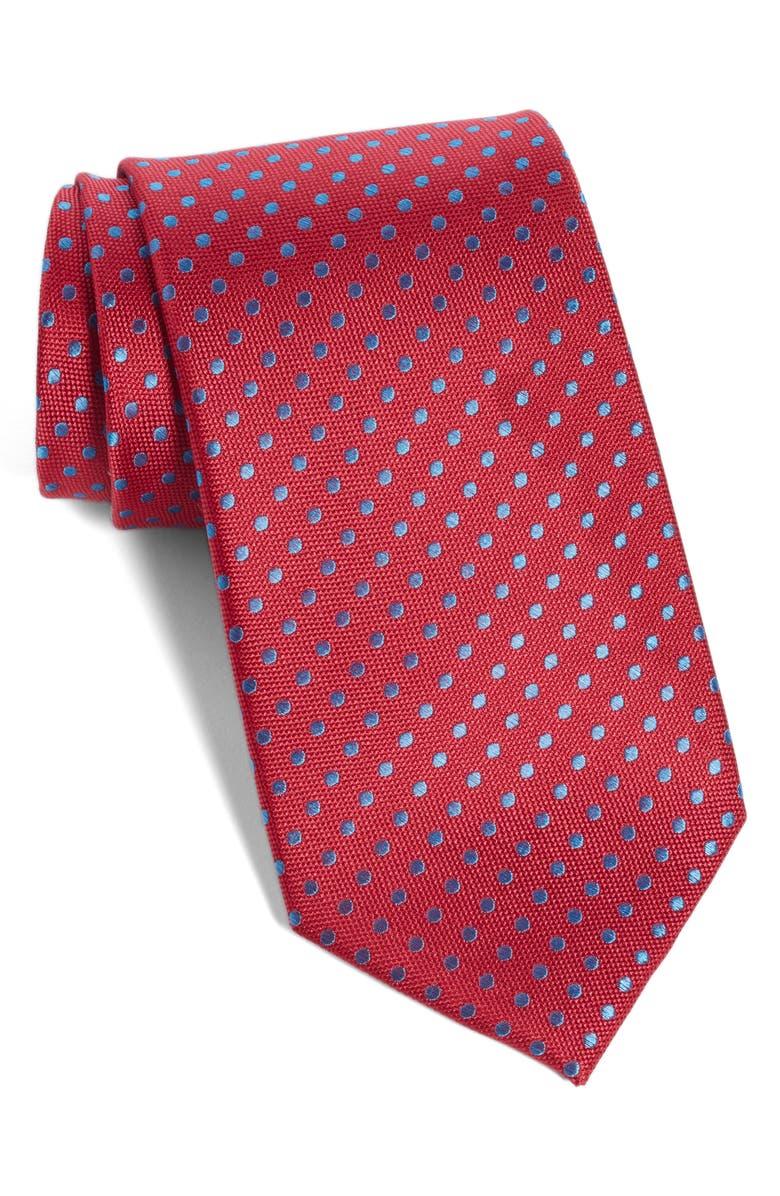 NORDSTROM MEN'S SHOP Norton Dot Silk Tie, Main, color, RED