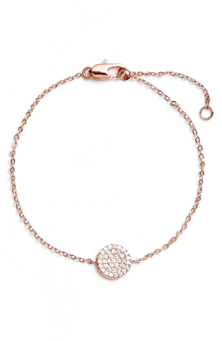 NORDSTROM Pavé Disc Bracelet, Main, color, CLEAR- ROSE GOLD