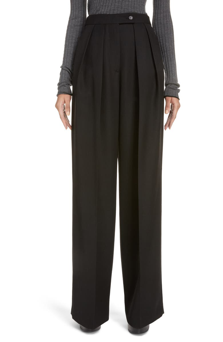 ACNE STUDIOS Pristine Pleated Wide Leg Suiting Trousers, Main, color, BLACK