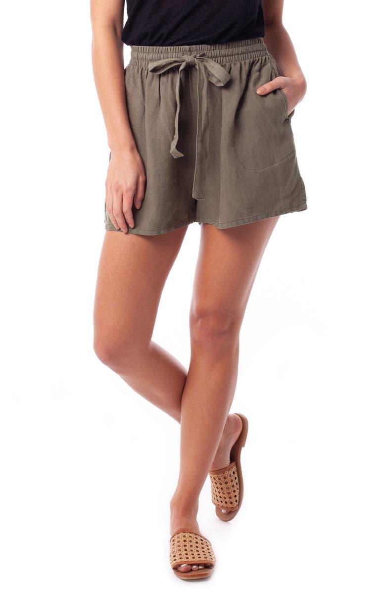 RHYTHM Amalfi Linen Shorts, Main, color, OLIVE