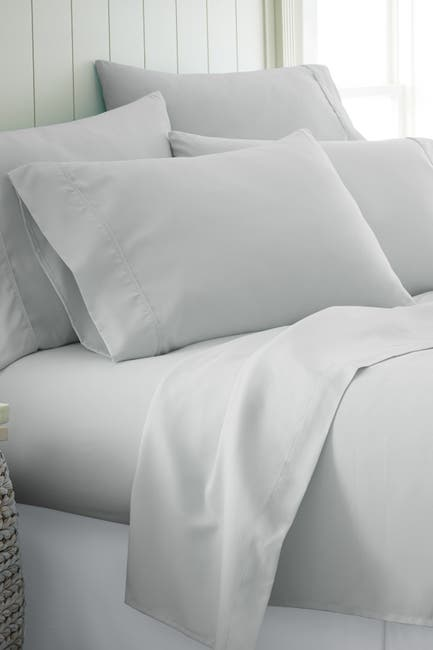 Image of IENJOY HOME King Hotel Collection Premium Ultra Soft 6-Piece Bed Sheet Set - Light Gray