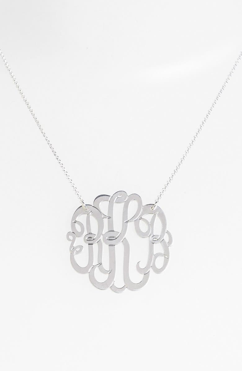 ARGENTO VIVO Personalized Large 3-Initial Letter Monogram Necklace, Main, color, SILVER