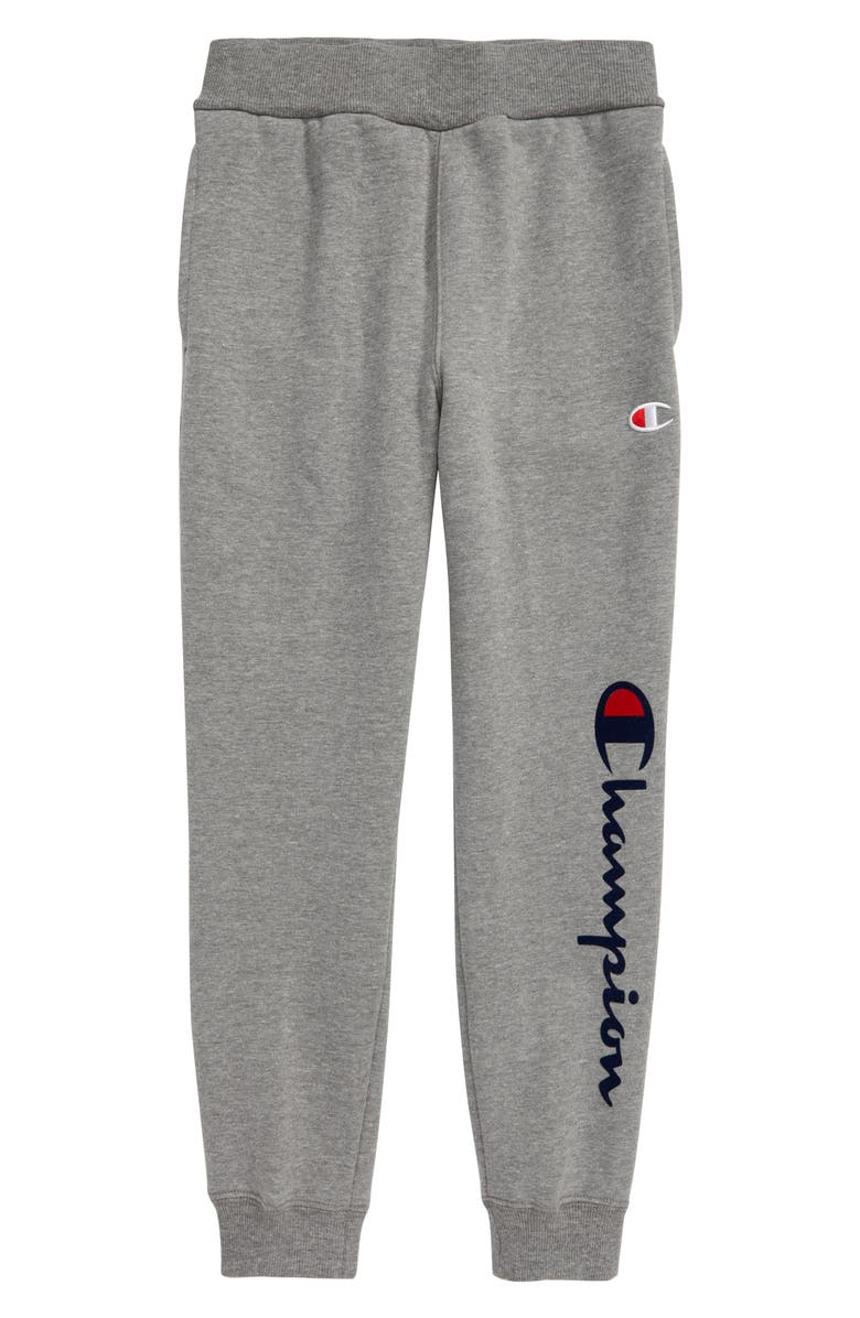 CHAMPION Flocked Logo Sweatpants, Main, color, GRANITE HEATHER