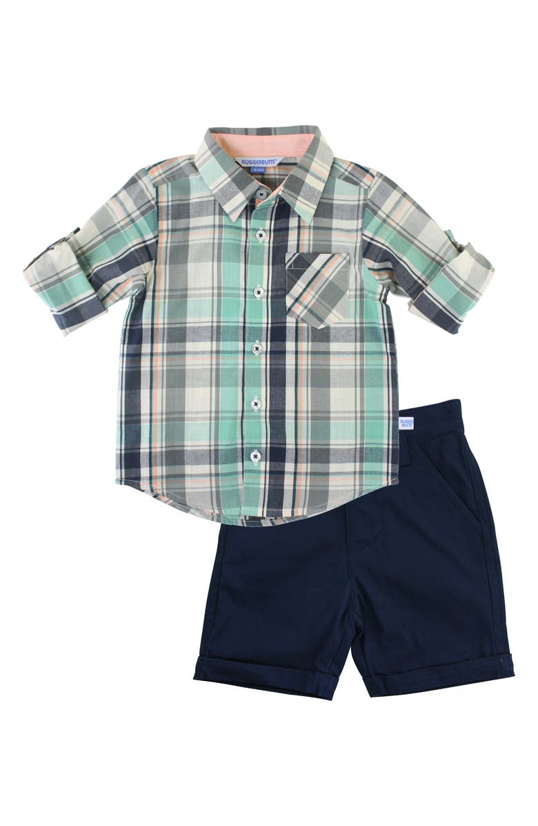 RUGGEDBUTTS David Plaid Shirt & Shorts Set, Main, color, NAVY